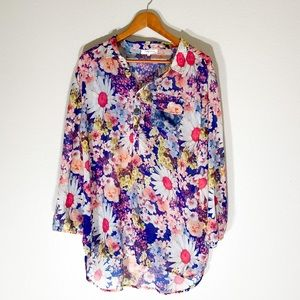 Simply Couture sheer floral blouse